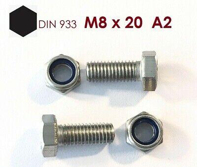 Mutter M8 mit Klemmung 10 Stück Sechskantschraube M8x20 Edelstahl A2