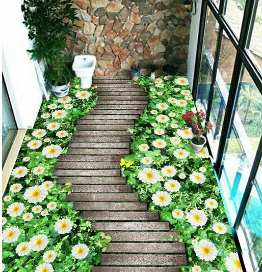 3D ponte fiore bello Pavimento Foto Wallpaper Murales Muro Stampa Decalcomania