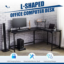 L Shaped Gaming Desk W Charging Station And Monitor Stand 47x19 66x19 Black