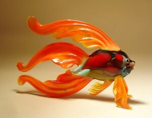 Blown Glass Figurine Art Orange Betta FISH with Colorful Body