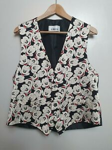 Vintage-Disney-100-Silk-Mickey-Mouse-Waist-Coat-Size-XL-46-034-Bold-Unusual