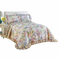 Floral Gardenscape Plisse Bedspread, By Collections Etc