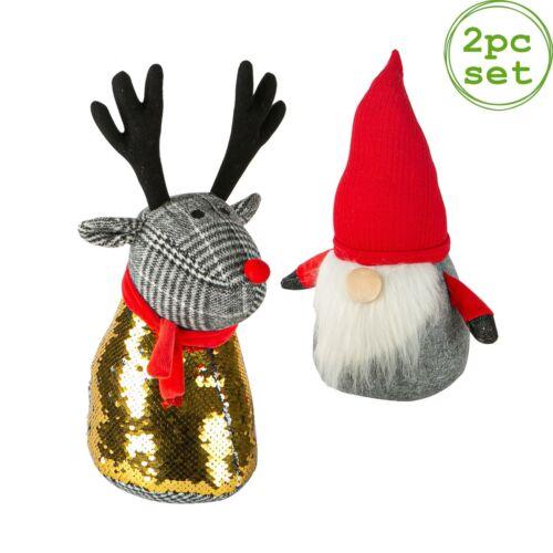 2 Piece Christmas Door Stop Set Fabric Wedge Heavy Santa /& Reindeer