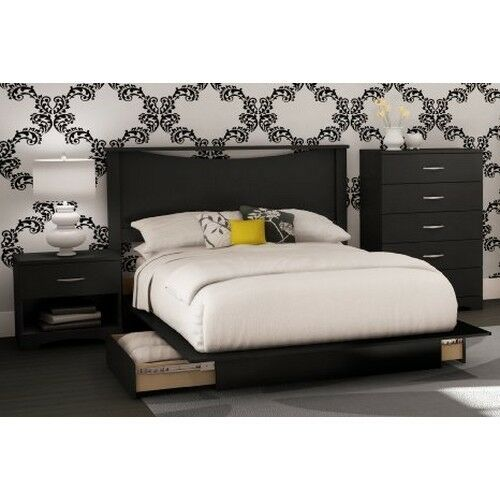 4 Piece Black Queen Full Bedroom Furniture Set Bed Storage Dresser
