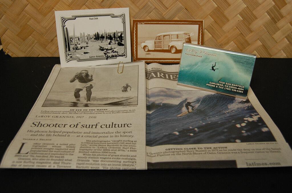 Leroy Grannis Surfer Business Card & Signed Item More