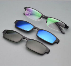 d40e2fc181 Image is loading Men-Eyeglasses-Frame-2-pcs-Magnetic-Polarized-Clip-