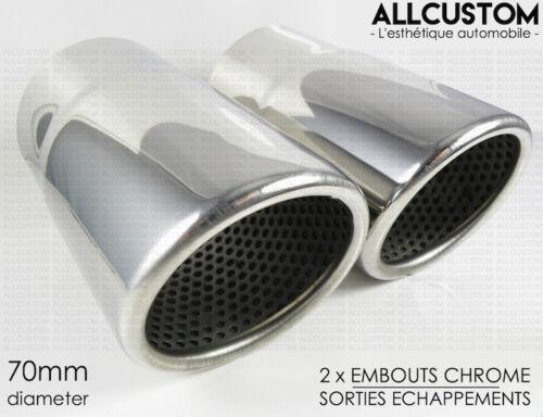 EMBOUTS CHROME SORTIE ECHAPPEMENTS pour AUDI A4 B7 2004-08 S SLINE TSI TDI 70mm