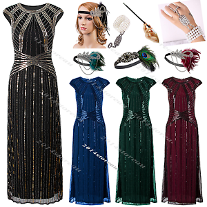 Details about 1920\'s Long Flapper Dress Gatsby Evening Prom Party Sequin  Beaded Plus Size 4-20