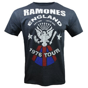 Mens-Ramones-Vintage-Look-England-1976-Tour-Tribute-Band-T-Shirt-Charcoal-Gray