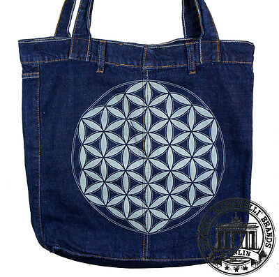 S07. FLOWER OF LIFE Jeans Denim Shopping Bag Marionelli Tasche Stofftasche