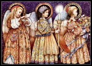 Three-Angels-Counted-Cross-Stitch-Patterns-Kits-B-amp-W-Symbols-Charts