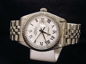 Details About Rolex Datejust Mens Stainless Steel Jubilee Watch White Black Roman Dial 1603