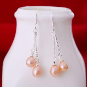 schoenes-rosa-Suesswasser-Perle-baumeln-Ohrringe