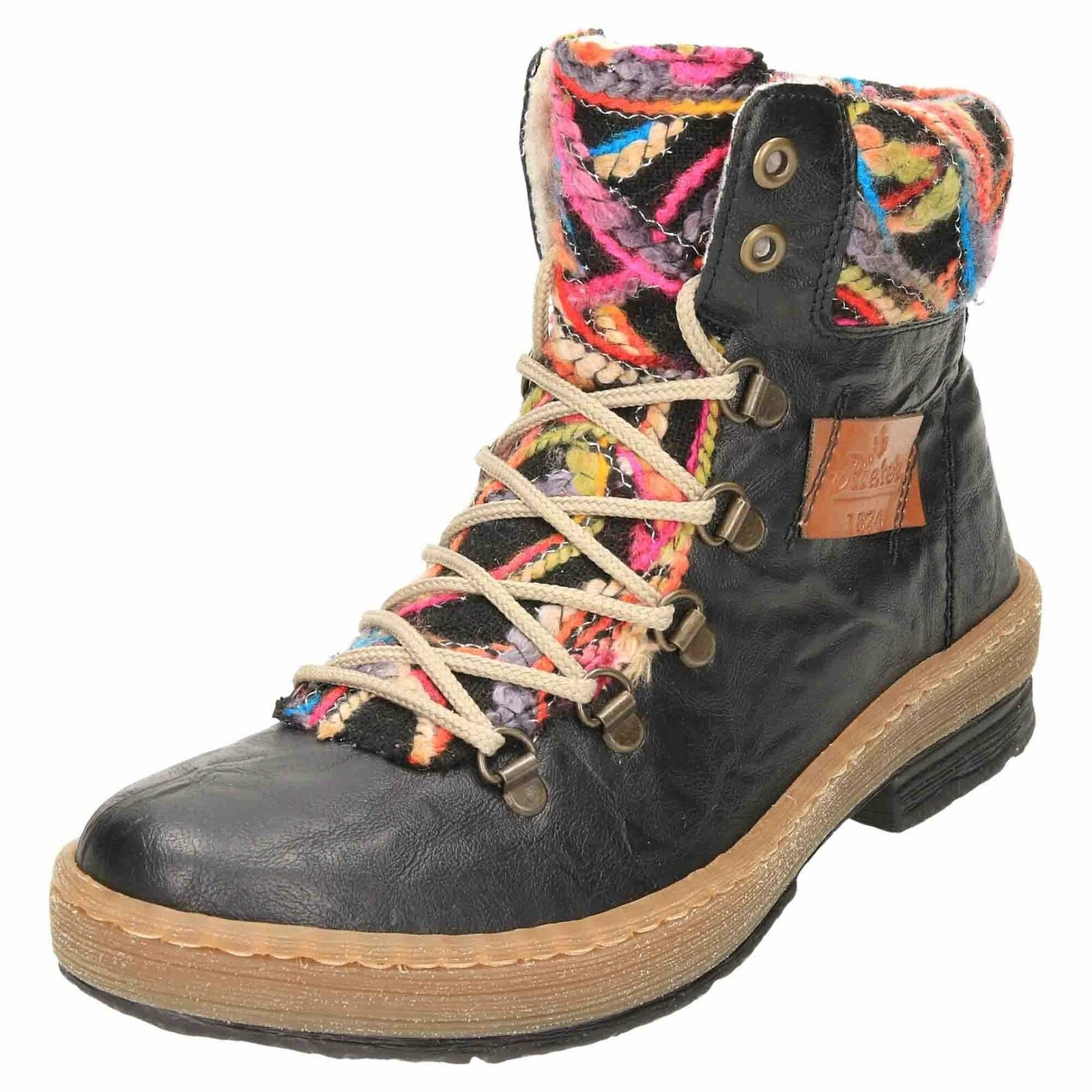 Rieker Flat Lace Up Zip Knitted Ankle Stiefel Z6743-00 Low Heel Warm Winter schuhe