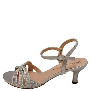 Blossom Berk 157 Silver Women's Embellished Low Heel Dress ...