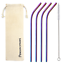 thumbnail 1 - Bent 4 Pack Stainless Steel Metal Straws Gift Set Reusable [Choose your Colour]
