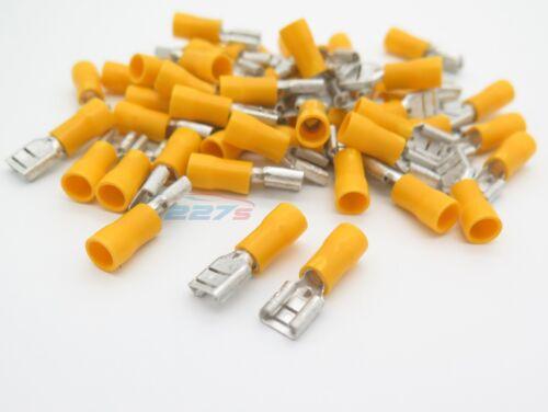 Amarillo 20 Mujer 6.3 Conector Plano terminales de crimpeado aislados Cableado Eléctrico