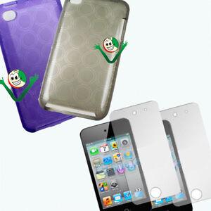 2X-Pellicola-Custodia-Viola-in-TPU-morbida-CERCHI-per-iPod-Touch-4-4G