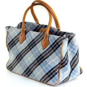 36f8aa5323ab Auth Burberry Made in Japan aqua blue Nova Check Pattern fabric tote ...