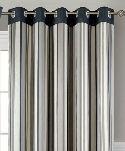 Charcoal Eyelet Curtains Ready Made /& Lined Montana Stripe Grey