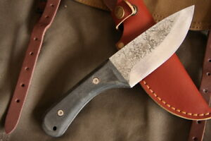 Hand-Forged-Stubby-Full-Tang-Bushcraft-Knife-G10-handle-w-leather-sheath