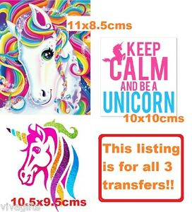 Details about 3x Rainbow Unicorn Iron On Transfers - kids craft t-shirt  embellishment