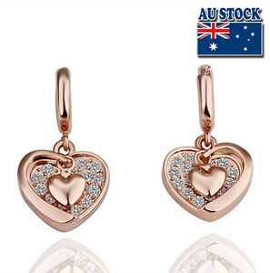 b88fbd1b1 New 18K Rose GOLD Filled Solid Heart Hoop Earrings With SWAROVSKI ...