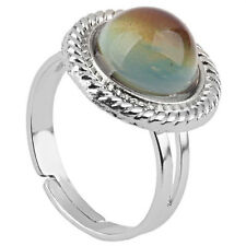 K9 Vintage Round Color Changing Mood Ring Emotion Feeling Ring Adjustable 17mm