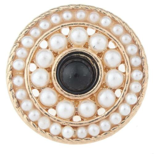 White Pearl with black center gold tone Snap Fits Ginger Snap GJS4946