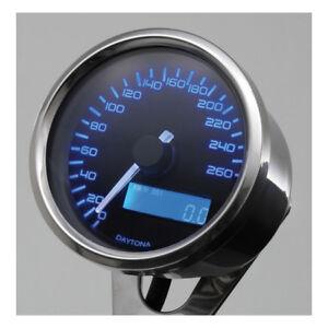 Velona-Tacho-60mm-Edelstahl-Beleuchtung-blau-bis-260-km-h-fuer-Harley-Davidson