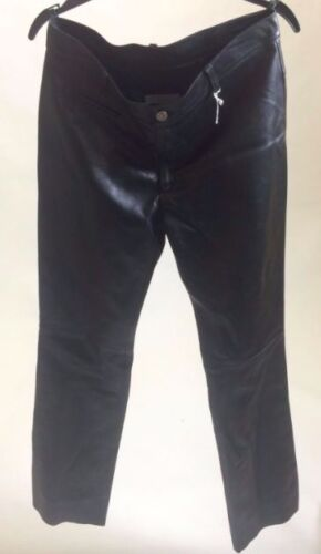 BNWOT NEW Jane Norris Black Leather Trousers UK 12 Mid Rise Medium Made in UK M