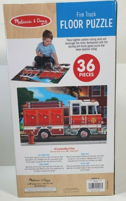 NEW SEALED Melissa /& Doug Fire Truck 36 PC Floor Puzzle 34in x 22.7in Ages 3