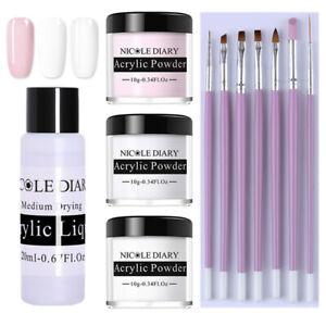 11Pcs-Set-NICOLE-DIARY-White-Pink-Clear-Polymer-Acrylic-Powder-Nail-Brushes-Kit