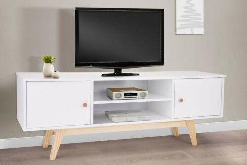 Scandinavian TV Cabinet Retro White Gloss Stand Lowboard Sideboard Media Unit