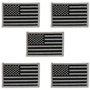 (Pack of 5) USA American Flag Embroidered Iron On Patch - Subdued Grey FREESHIP