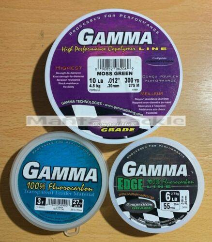 NEW Gamma Fluorocarbon Edge Leader Copolymer Line Carp Rigs Clear Moss Green