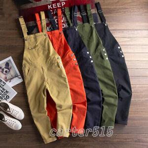 Moda Para Hombres Informales Pantalones Overoles Enterizos Pantalones De Algodon Con Tiradores Enterizos Ebay