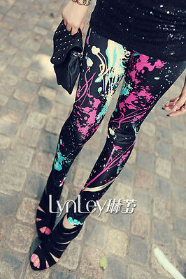 UK STOCK Womens Ladies Funky Graffiti Leggings Pants Size 8 10 12 14