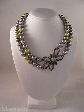"Heidi Daus ""Bow Design"" Necklace ~ Swarovski Crystals ~ Green Multi"