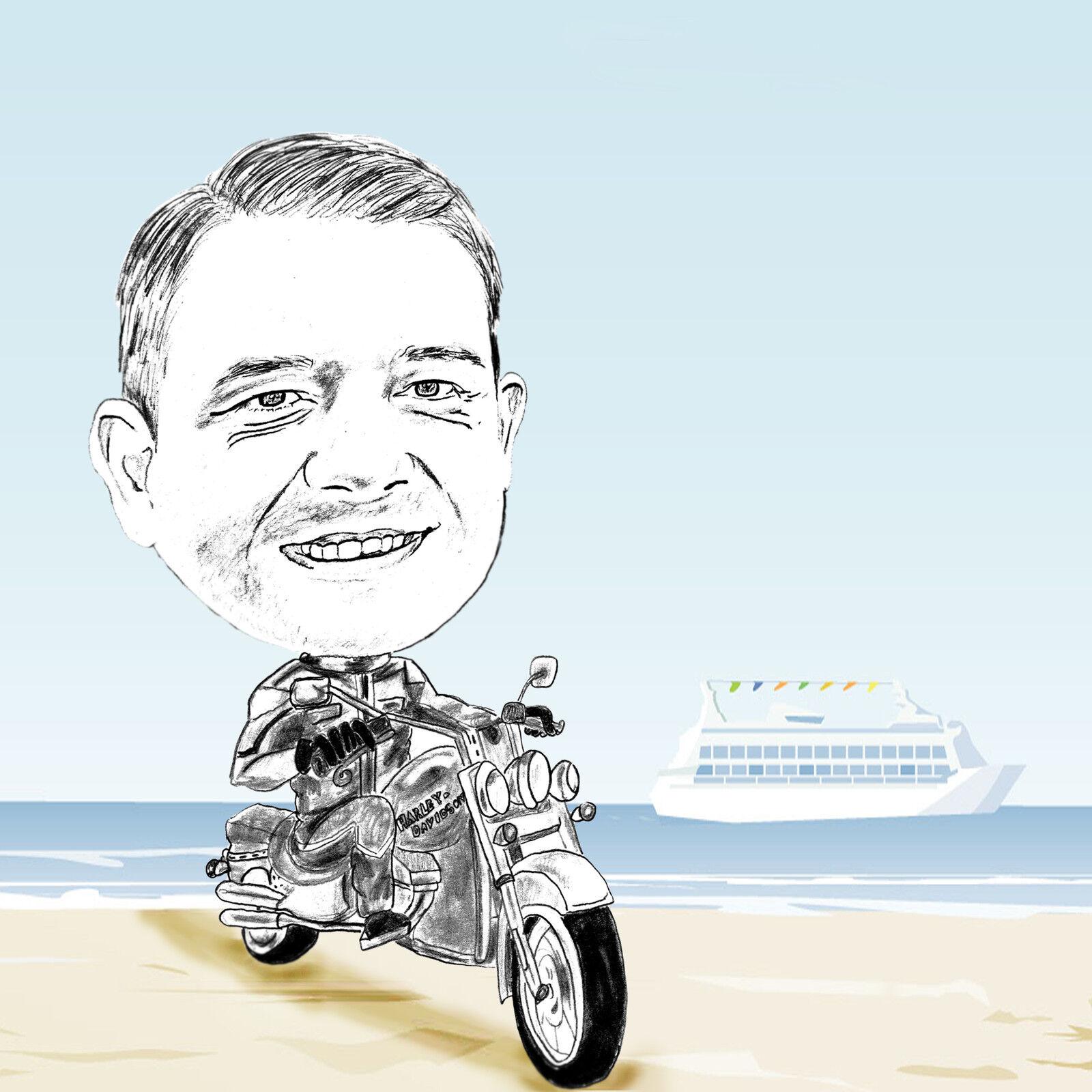 idée cadeau  CARICATURE-portrait moto Harley Davidson Hobby motif