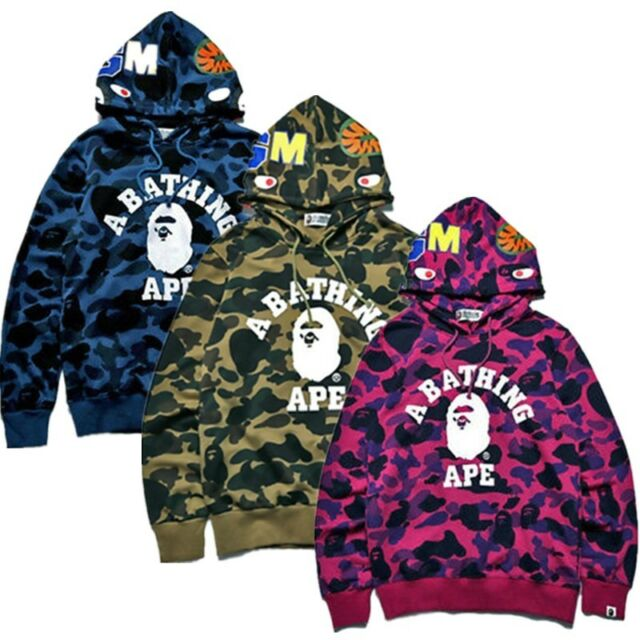 Men/'s Bape A Bathing Ape Jacket Full Zip Shark Head Camo Sweatshirt Coat Hoodie