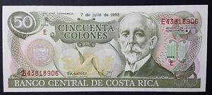 UNC Banknote Costa Rica 50 Colones p-257a 1993 Series E