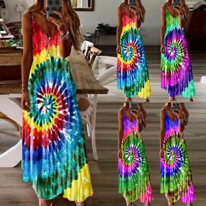 Plus Size Women Sleeveless Strappy Boho Summer Holiday Maxi Swing Dress Sundress