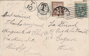 Lettre-Canada-Winnipeg-Timbre-Taxe-France-Cover-Brief