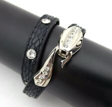 Snake Bracelet Double Wrap Black Leather CZ Rhinestone Silver Plated New