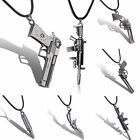 Men's Metal Army Gun Rifle Shell Rope Chain Soldiers Pendant Necklace Unisex DIY