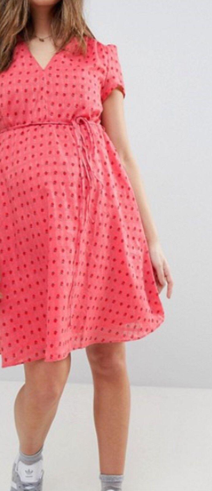 Glamgoldus - Bloom Mini Tea Dress With Tie Waist In Ditsy pink, Brand New