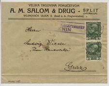 19.. 2*5H auf Briefkuvert, K.u.K.Militärzensur/KNIN Stempel, nach GRAZ.