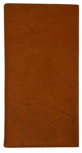 Tan Bifold Leather Wallet Long Purse Cash Credit Cards ID Check Book Holder