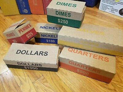 1 Each Denomination Collection Authentic Coin Box Set. 6 Empty Bank Boxes